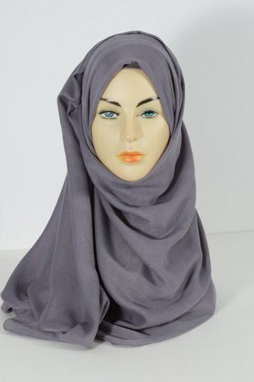 Hijab pashmina XXL- maxi mauve grisé pas cher & discount