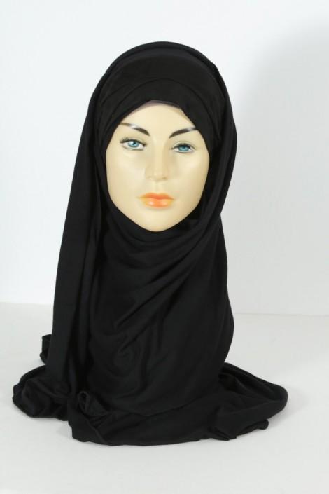 Hijab Mervé - Prêt à enfiler - Noir
