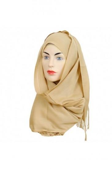 Hijab Pashmina Royal beige dore pas cher & discount