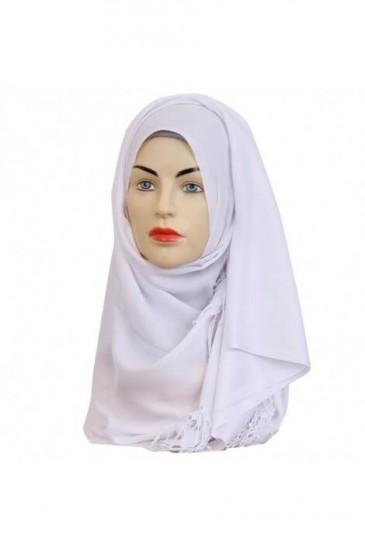 Hijab Pashmina Royal blanc pas cher & discount