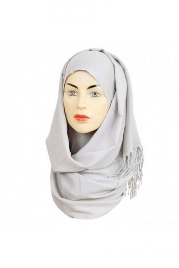 Hijab Pashmina Royal gris perle pas cher & discount