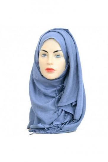 Hijab Pashmina Royal bleu jeans pas cher & discount