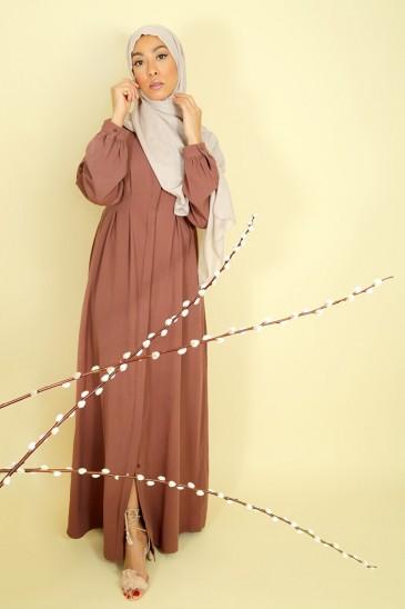Abaya Robe Jouda Marron Glacé pas cher & discount