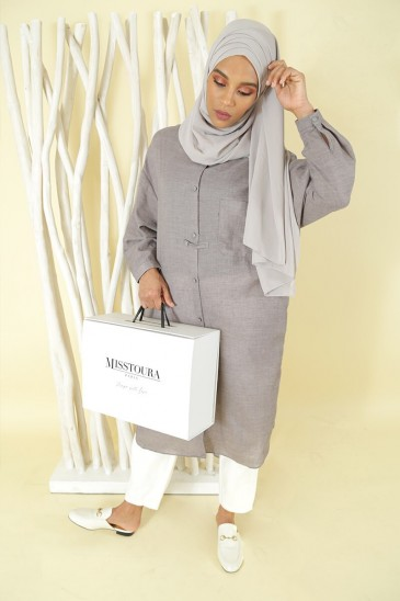Tunique Nadjah Gris pas cher & discount