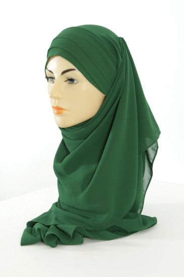 Hijab easy style prêt à enfiler - Vert sapin pas cher & discount
