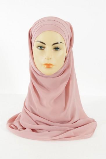 Hijab easy style prêt à enfiler - Vieux rose pas cher & discount
