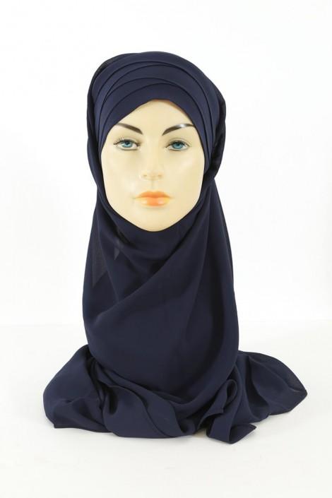 Hijab easy style prêt à enfiler - bleu nuit
