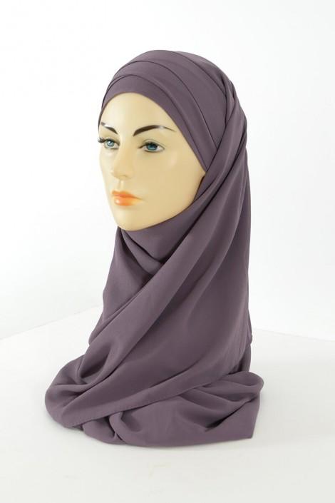 Hijab easy style prêt à enfiler - Mauve