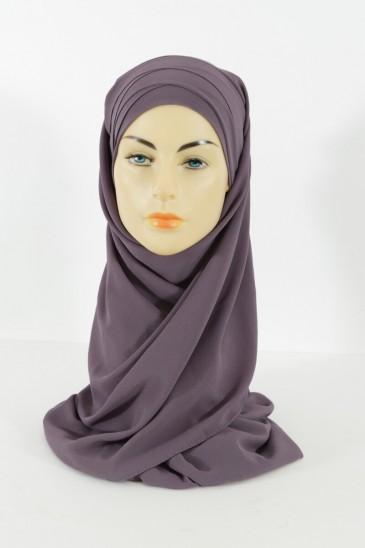 Hijab easy style prêt à enfiler - Mauve pas cher & discount