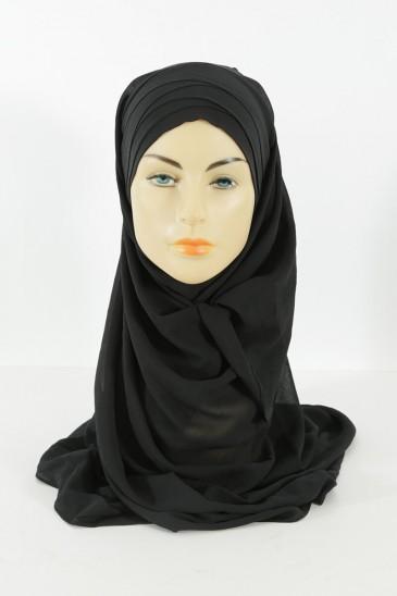 Hijab easy style prêt à enfiler - noir pas cher & discount
