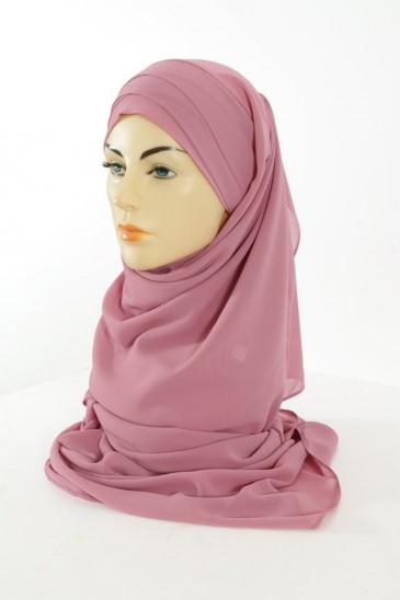 Hijab easy style prêt à enfiler - Rose balai pas cher & discount