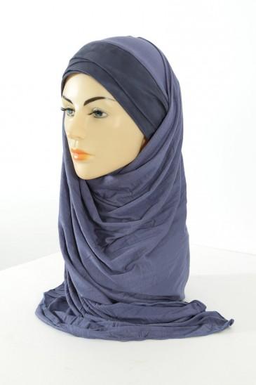 Hijab Mervé- Bleu guède pas cher & discount