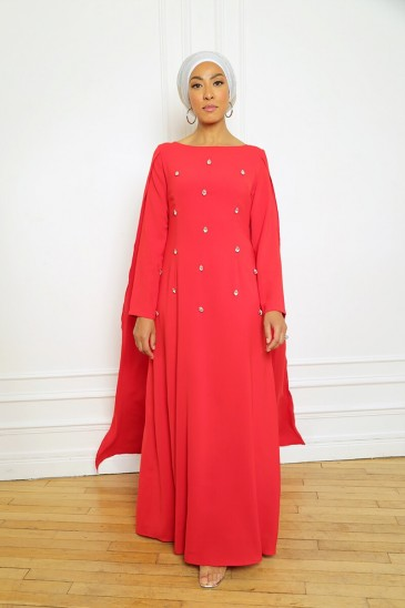 Robe Amjaad Rouge pas cher & discount