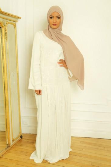 Abaya Robe Candice blanc cassé pas cher & discount