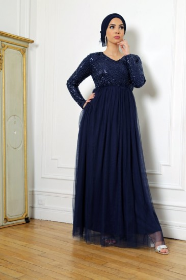 Robe Elynn Bleu Marine pas cher & discount