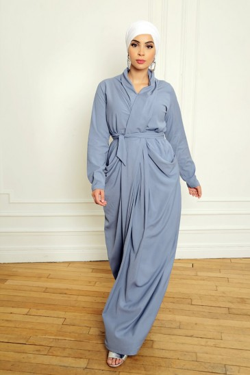 Abaya Robe Alya Bleu pas cher & discount