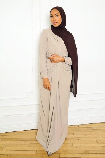 Abaya Robe Alya Taupe pas cher & discount