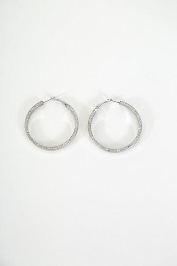 Boucle d'oreille creole marquise couleur argent pas cher & discount