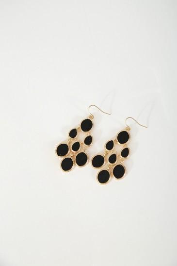 Boucle d'oreille Dias doré noir pas cher & discount