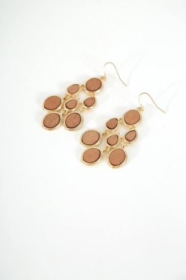 Boucle d'oreille Dias doré marron pas cher & discount