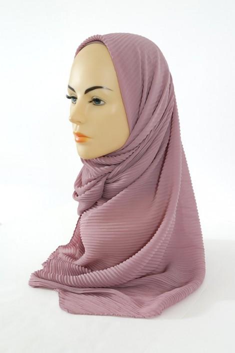 Hijab Mousseline Plisse - Vieux rose