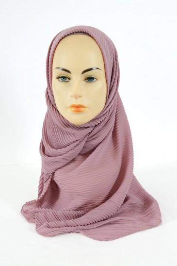 Hijab Mousseline Plisse - Vieux rose pas cher & discount