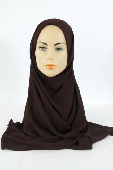 Hijab Mousseline Plissé - Marron pas cher & discount