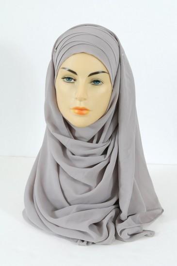 Hijab easy style prêt à enfiler - Ecru Gris pas cher & discount