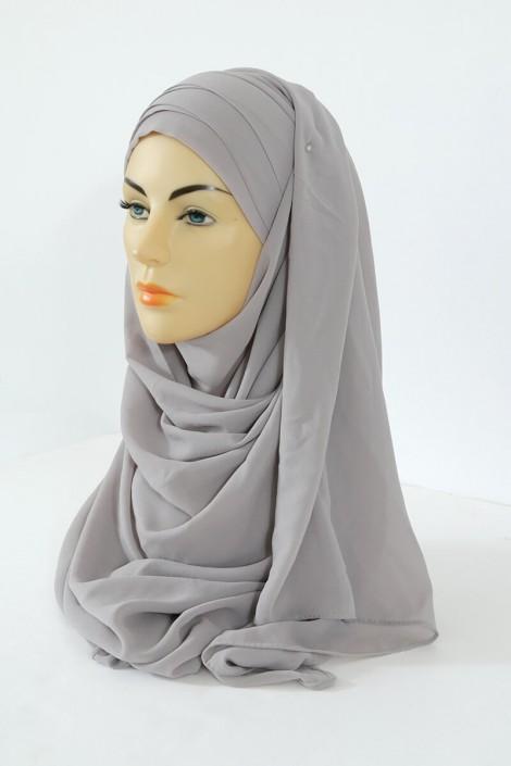 Hijab easy style prêt à enfiler - Ecru Gris