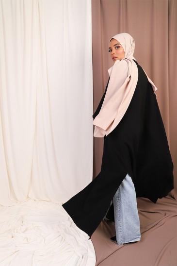 Abaya Coat Twist Noir pas cher & discount