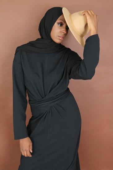 Robe à nœud Nyna Noir pas cher & discount