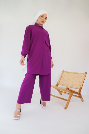 Chemisier Elah Purple pas cher & discount