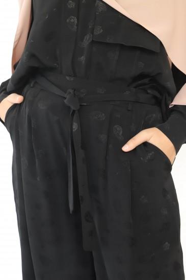 Pantalon Elah Imprimé Noir pas cher & discount