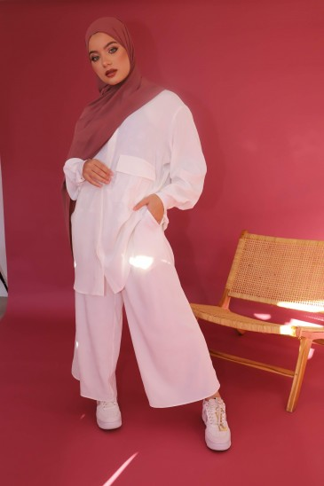 Pantalon Elah Imprimé Ecru pas cher & discount