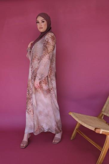 Kimono Shamah Soie Imprimée Nude Beige pas cher & discount