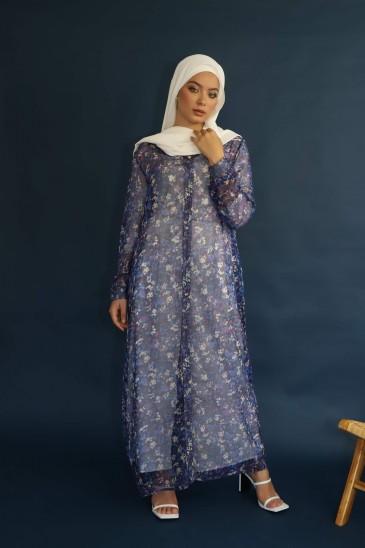 Kimono Shamah Soie Imprimée Bleu pas cher & discount