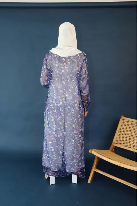 Kimono Shamah Soie Imprimée Bleu