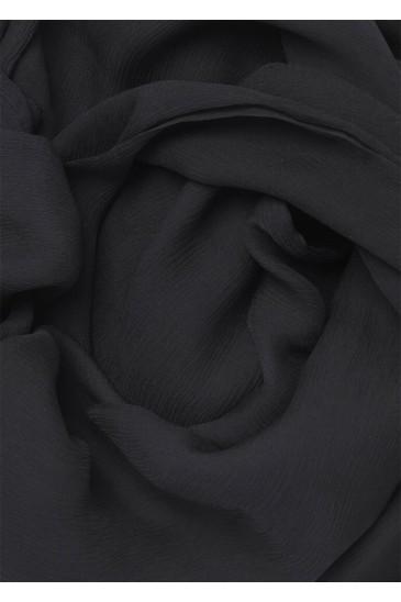 Hijab en Mousseline de Soie Noir pas cher & discount