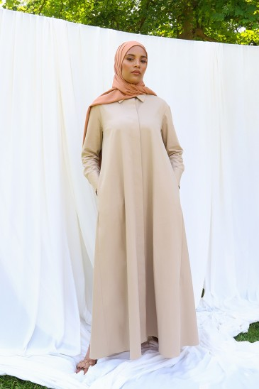 Robe chemise Mima Beige pas cher & discount
