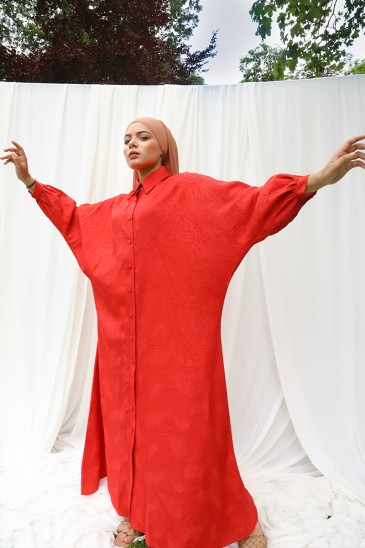 Robe Abaya Khady Rouge pas cher & discount
