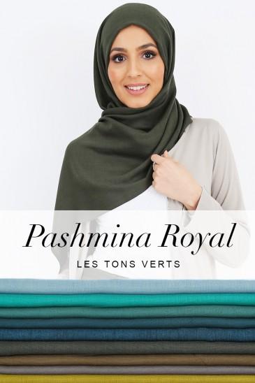 Pashmina royal - Tons Vert - pas cher & discount