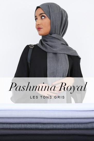 Pashmina royal - Tons Noir, Blanc et Gris - pas cher & discount
