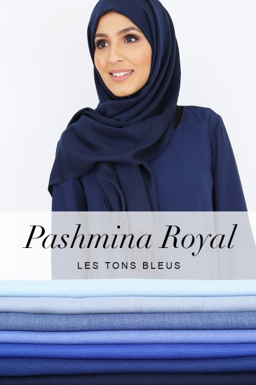 Pashmina royal - Tons Bleu - pas cher & discount
