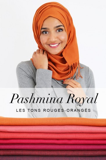 Pashmina royal - Tons Rouge Orange - pas cher & discount