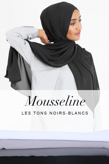 Hijab Armel - Les tons Noir et Blanc - pas cher & discount