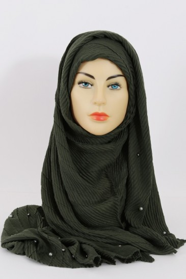 Hijeb SAFIYA perle Kaki pas cher & discount